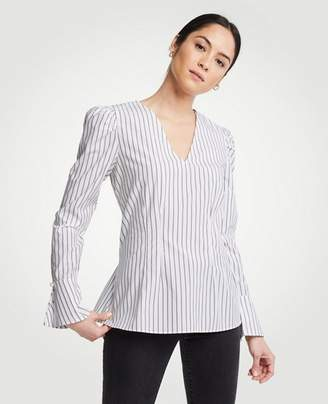 Ann Taylor Striped Poplin Pearlized Cuff Top