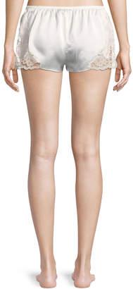 Josie Natori Camilla Lace-Trim Silk Lounge Shorts