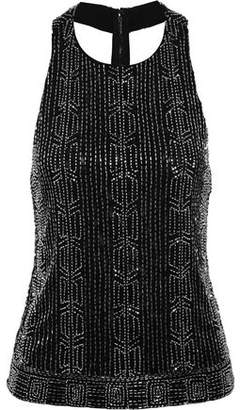 Alice + Olivia Brie Embellished Mesh And Crepe Top