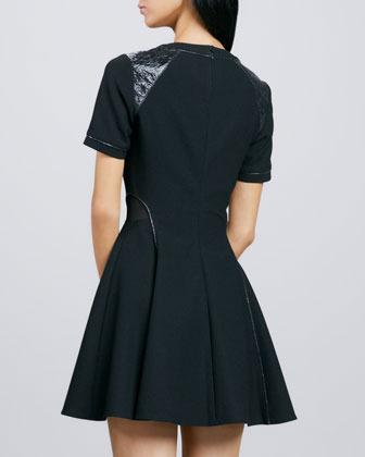 Elizabeth and James Rinah Leather-Trim Dress