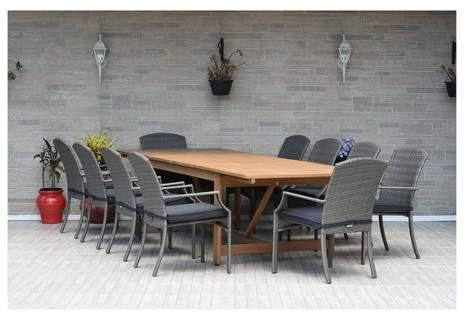 Amazonia 11pc Myers Eucalyptus/Wicker Rectangular Dining Set