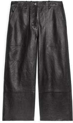 Arket Cropped Leather Trousers