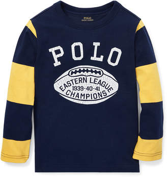 Ralph Lauren Polo Football Striped-Sleeves T-Shirt, Size 5-7