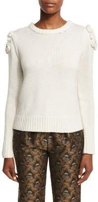 Co Floral-Knit Crewneck Sweater