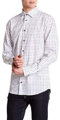 14th & Union Dot Pattern Stretch Trim Fit Button Shirt