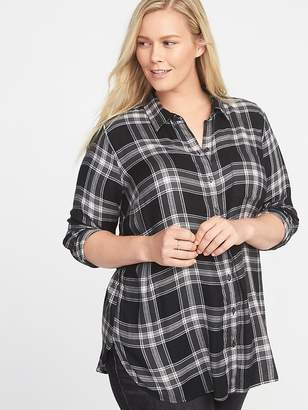 Old Navy Classic Plus-Size No-Peek Drapey-Flannel Tunic
