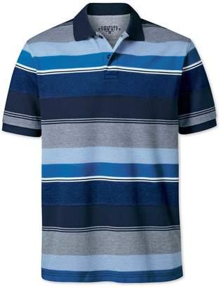 Charles Tyrwhitt Blue Multi Stripe Oxford Pique Cotton Polo Size XXL