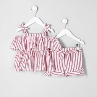 River Island Mini girls red stripe cami and shorts outfit