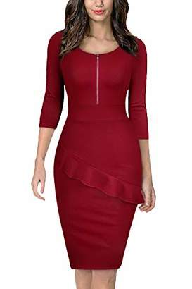 Moyabo Work Dresses for Women Midi Length 3/4 Sleeve Square Neck One Piece Office Lady Fit Slim Pencil Dress