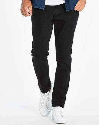 Jacamo Tapered Solid Black Jeans 33 in