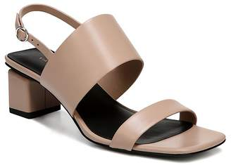 Cheap Sale Big Discount Via Spiga Women's Forte Leather Slingback Block Heel Sandals 100% Guaranteed Online Best Seller QWj4E9sQkG