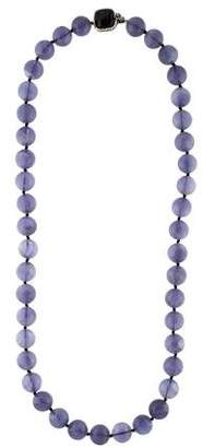 Stephen Dweck Fluorite & Hypersthene Bead Strand Necklace