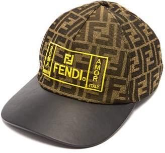 Fendi Ff Embroidered Leather Peak Baseball Cap - Mens - Brown