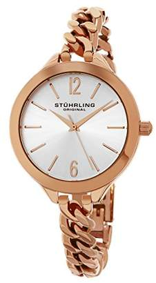 Stuhrling Original Women's Quartz Watch with Silver Dial Analogue Display and Rose Gold Stainless Steel Bracelet 624M.03