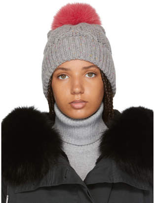 Yves Salomon Grey and Pink Fur Beanie