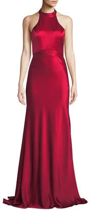 Catherine Deane Kin Satin Halter Gown w/ Open Back