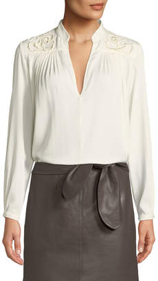 Halston Floral Embroidered Long-Sleeve Blouse