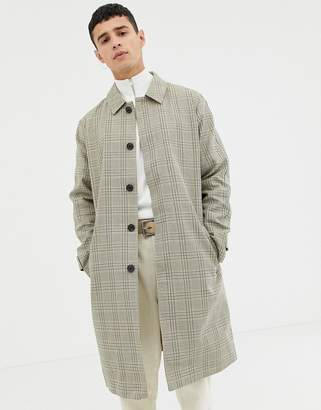 Selected bonded cotton trench coat in check