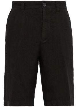120% Lino Straight Leg Shorts - Mens - Black