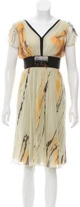 Alberta Ferretti Silk Printed Dress w/ Tags