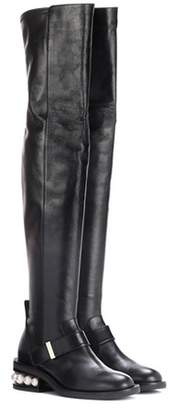Nicholas Kirkwood Casati Pearl leather over-the-knee boots