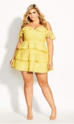 City Chic Angel Gem Dress - buttercup