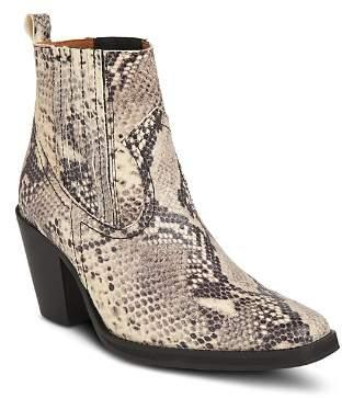 Whistles Women's Allington Snakeskin-Embossed Leather Mid-Heel Western Booties