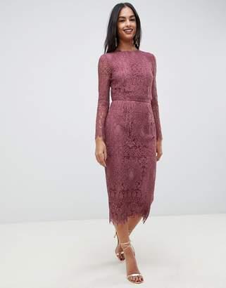 071ff3d2aa06f Asos Design DESIGN lace long sleeve midi pencil dress