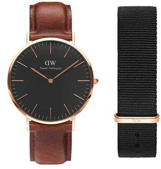 Daniel Wellington Classic Leather Strap Watch & Nylon Strap Gift Set, 40mm