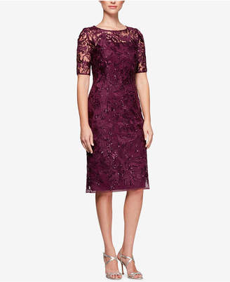 Alex Evenings Sequined Embroidered Sheath Dress