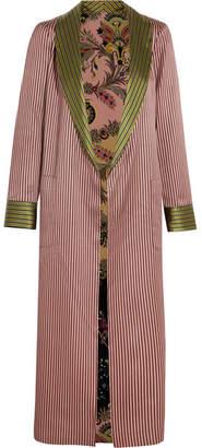 Reversible Jacquard And Printed Silk Crepe De Chine Jacket - Pink