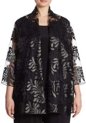 Caroline Rose Women's Leaf Through Appliqué Cardigan - Black - Size 1X (14-16)