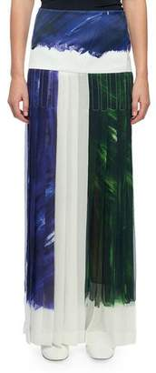 Victoria Beckham Paint Brush-Print Pleated Maxi Skirt
