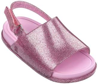 Mini Melissa Mini Beach Slide Sandal - Pink Glitter