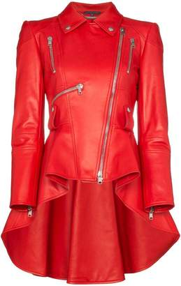 Alexander McQueen asymmetric ruffle leather jacket
