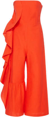 Rachel Comey Foam Jacquard Revel Ruffle Jumpsuit