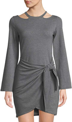 Junie Long-Sleeve Jersey Wrap-Skirt Mini Dress