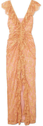 Alice McCall Notion Ruffled Metallic Chantilly Lace Gown - Pink