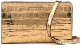 Michael Kors Jet Set Travel Metallic Embossed-Leather - Crossbody Clutch - Gold - 32F7MF5C3K-710