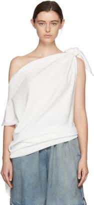 Maison Margiela White Compact Shoulder Tie Top Sweater