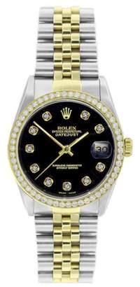 Rolex Datejust 16013 Stainless Steel & 18K Yellow Gold Black Diamond Dial & Bezel 36mm Mens Watch