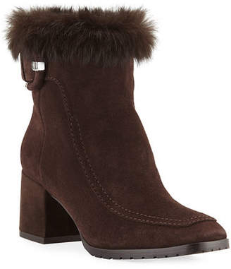 ef1a32b8ef1 Aquatalia Charlize Suede Booties with Fur Trim