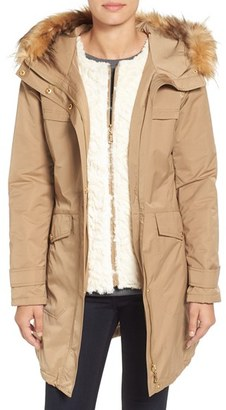 Women's Ellen Tracy Techno Parka With Inset Bib & Faux Fur Trim $280 thestylecure.com