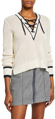 Veronica Beard Iverson Lace-up Sweater