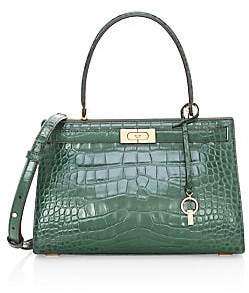 Tory Burch Women's Small Lee Radziwell Croc-Embossed Leather Satchel