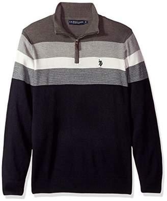 U.S. Polo Assn. Men's Stripe Color Block V-Neck Sweater