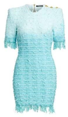 Fringed Tie-Dye Tweed Dress