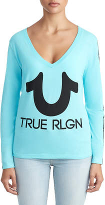 True Religion WOMENS HORSESHOE STRIPE LOGO LONG SLEEVE TEE