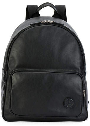 Giorgio Armani Smooth Leather Backpack, Black