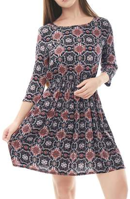 Allegra K Women's Floral Prints 3/4 Sleeves Unlined Vintage Dress M